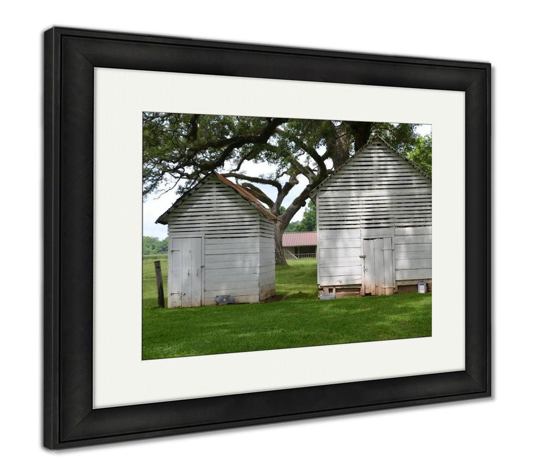 Framed Print, Old Dilapidated Building On A Plantation In Cane River Creole National