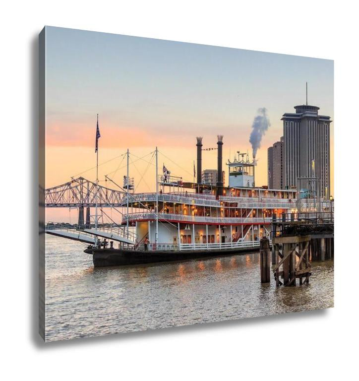 Gallery Wrapped Canvas, New Orleans Paddle Steamer In Mississippi River In New Orleans