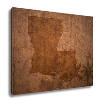 Load image into Gallery viewer, Gallery Wrapped Canvas, Louisiana State Map On A Old Vintage Crack Paper