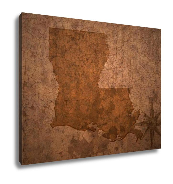 Gallery Wrapped Canvas, Louisiana State Map On A Old Vintage Crack Paper