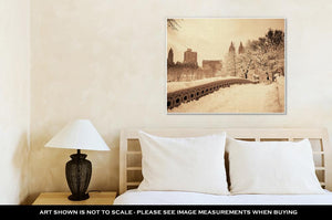 Gallery Wrapped Canvas, Central Park Winter With Skyscrapers And Bow Bridge In Midtown Manhattan New