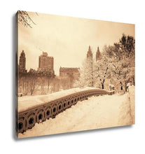 Load image into Gallery viewer, Gallery Wrapped Canvas, Central Park Winter With Skyscrapers And Bow Bridge In Midtown Manhattan New