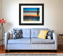 Load image into Gallery viewer, Framed Print, Gwb And Nyc Skyline At Sunset