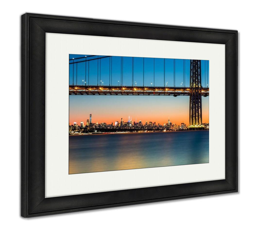 Framed Print, Gwb And Nyc Skyline At Sunset