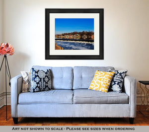 Framed Print, The Famed Philadelphia Boathouse Row In Fairmount Dam Fishway