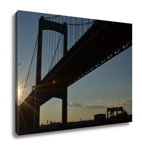 Gallery Wrapped Canvas, Walt Whitman Bridge In Philadephia Pa At Sunset