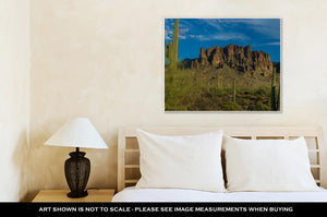 Gallery Wrapped Canvas, Sunset Starts To Approach The Plains Of The Superstition Mountains