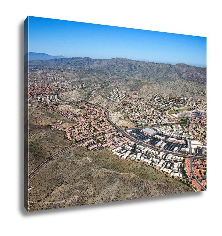 Gallery Wrapped Canvas, Aerial View Of South Mountain From Over Ahwatukee Looking To The West