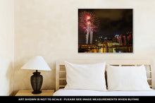 Load image into Gallery viewer, Gallery Wrapped Canvas, Pittsburgh Pa River View Skyline At Night With Colorful Firework