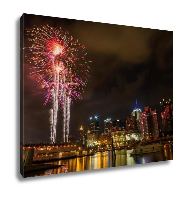 Gallery Wrapped Canvas, Pittsburgh Pa River View Skyline At Night With Colorful Firework