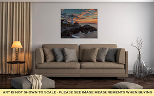 Gallery Wrapped Canvas, Portland Head Lighthouse At Sunrise In Cape Elizabeth Maine USA