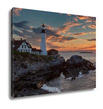 Load image into Gallery viewer, Gallery Wrapped Canvas, Portland Head Lighthouse At Sunrise In Cape Elizabeth Maine USA