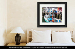 Framed Print, Lobster Boat In A Maine Harbor