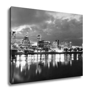 Gallery Wrapped Canvas, Willamette River Waterfront Portland Oregon Downtown City Skyline