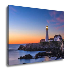 Gallery Wrapped Canvas, Portland Head Light In Cape Elizabeth Maine USA