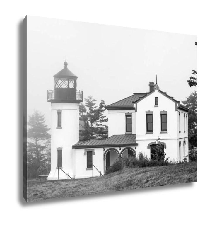 Gallery Wrapped Canvas, Black And White Lighthouse With Haunted Look