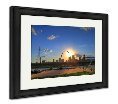 Framed Print, Sunset Over The St Louis Missouri Skyline From Malcolm W Martin Memorial Park