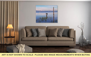 Gallery Wrapped Canvas, Seabirds Birds On Poles In The Sea At Sunrise Tampa Bay Florida