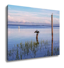 Load image into Gallery viewer, Gallery Wrapped Canvas, Seabirds Birds On Poles In The Sea At Sunrise Tampa Bay Florida