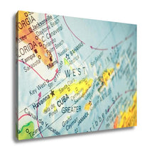 Load image into Gallery viewer, Gallery Wrapped Canvas, Map Cuba And Florida Closeup Macro Image Of Cuban Map Selective Focus