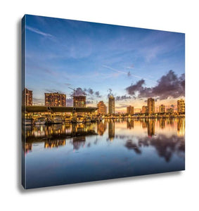 Gallery Wrapped Canvas, St Petersburg Florida USA Downtown City Skyline On The Bay