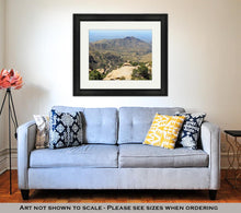 Load image into Gallery viewer, Framed Print, View Towards Tucson Of Winding Road From Windy Point On Mount Lemmon In Tucson