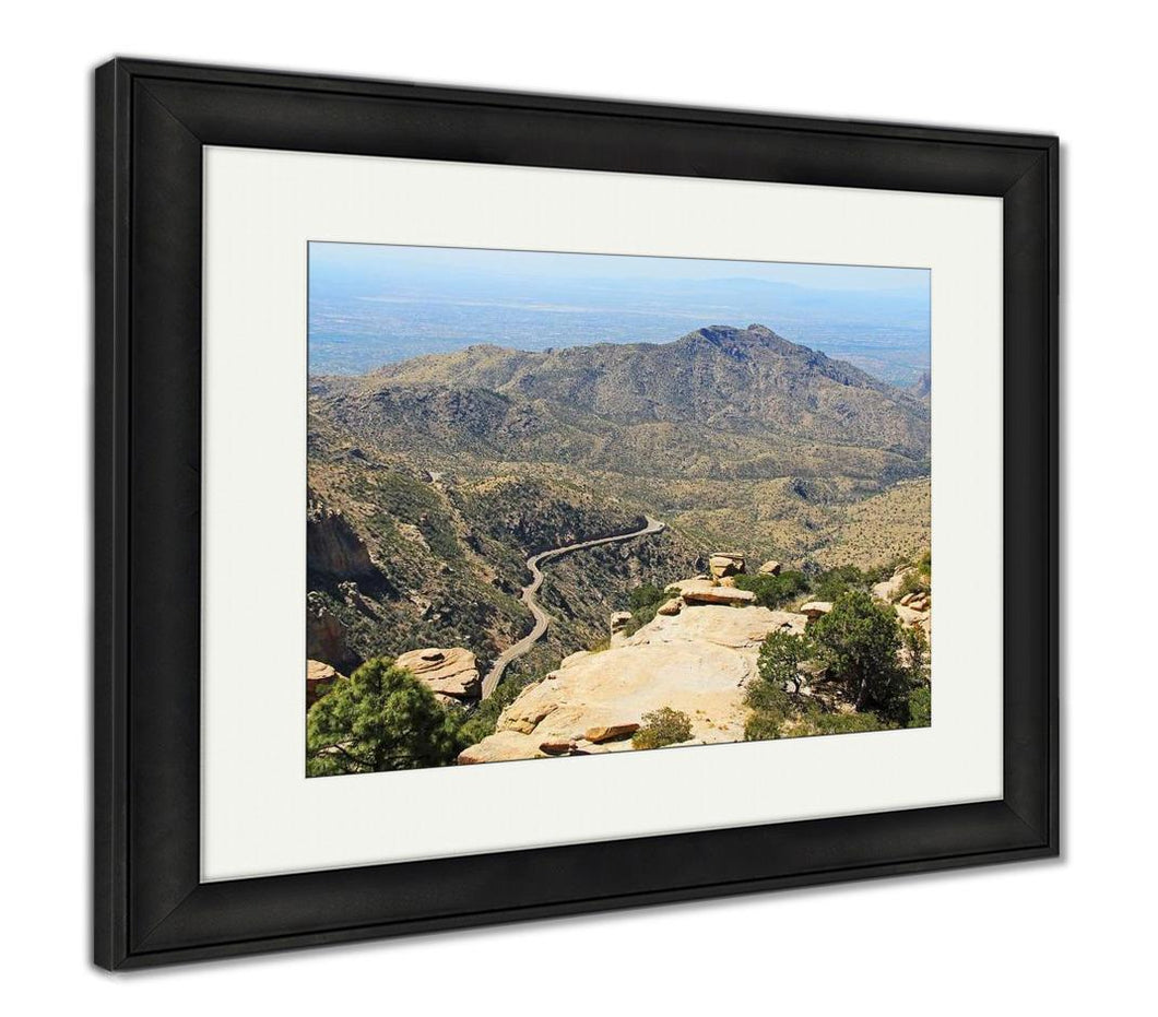 Framed Print, View Towards Tucson Of Winding Road From Windy Point On Mount Lemmon In Tucson