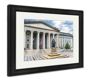 Framed Print, Albert Gallatin Statue Us Flag Us Treasury Department Washington Dc Statue By