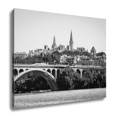 Gallery Wrapped Canvas, Washington Dc Georgetown And Key Bridge