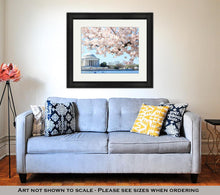 Load image into Gallery viewer, Framed Print, Dawn At The Jefferson Memorial During The Cherry Blossom Festiva