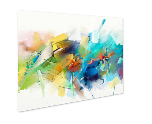 Metal Panel Print, Abstract Colorful Oil Painting On Canvas Hand Drawn Brush Stroke Oil Color
