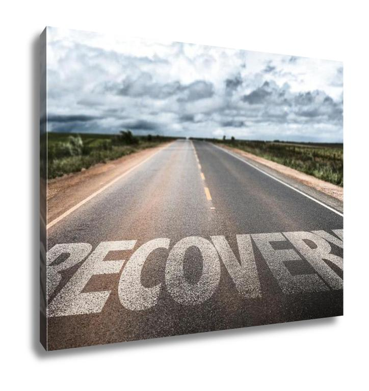 Gallery Wrapped Canvas, Recovery Written On The Road