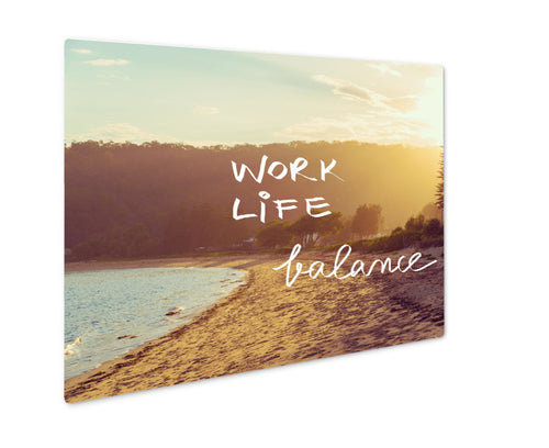 Metal Panel Print, Handwritten Text Over Sunset Beach