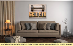 Gallery Wrapped Canvas, Get Fit Motivational Word Abstract In Vintage Letterpress Wood Type Printing