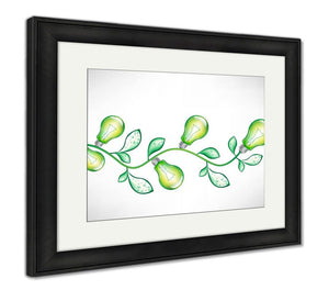 Framed Print, Branch With Green Light Bulbs And Leavesv