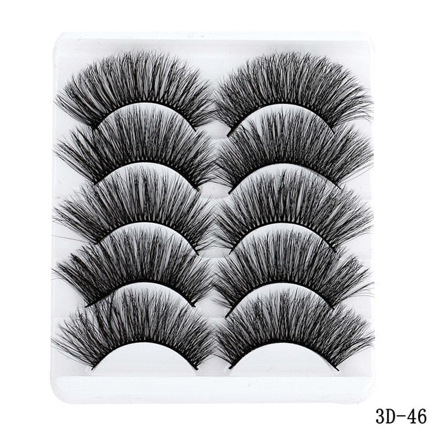 5 Pairs 5D Soft Mink Hair False Eyelashes Handmade