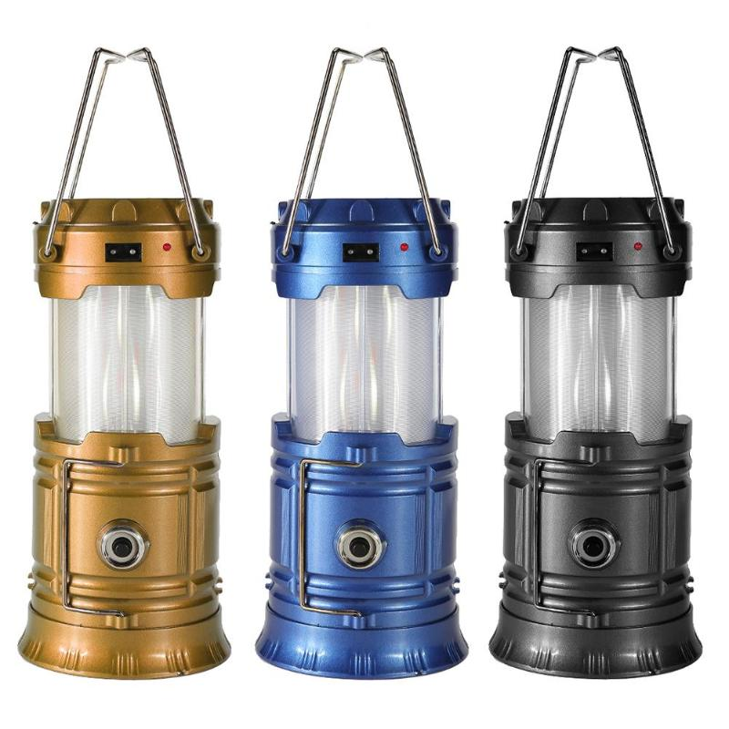 Portable Solar Camping Tent Light Flame Lamp Lantern Flashlight Retractable Emergency light