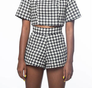 *HOUNDSTOOTH* TINA HIGH-WAIST SHORT