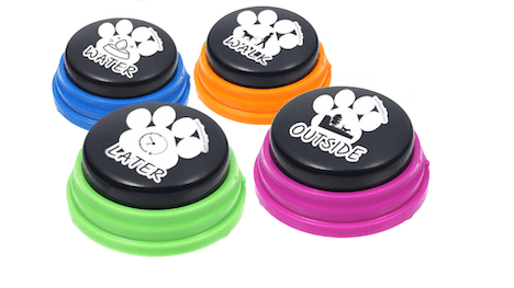 4 Pack classic black top dog talk buttons with different sticker labels on them.