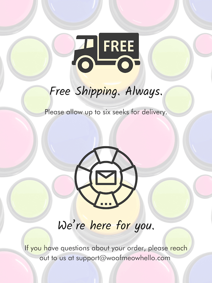 Always free shipping recordable dog buttons. Fast shipping.