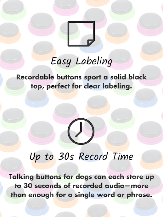 Easy to label communication buttons for dogs, up to 30 seconds record time