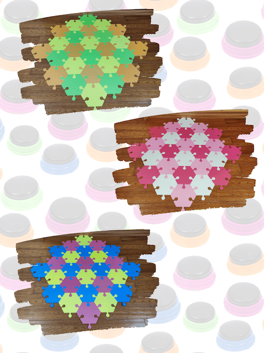 Mix and match color options for foam floor hex tiles for dog buttons.