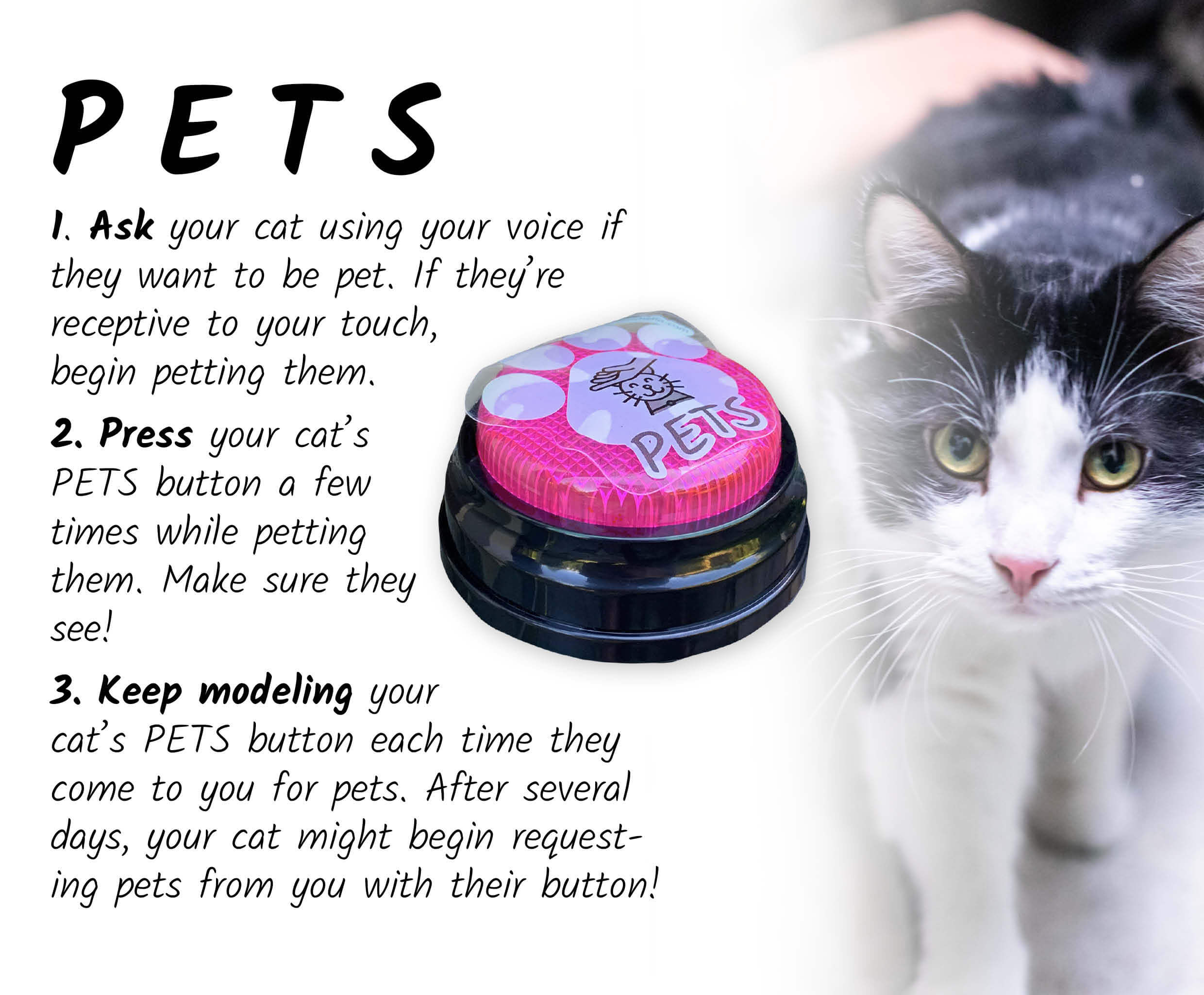 Pink pets speech button for cats to the left of a cat being pet. To the left of the button are the following instructions. First, ask your cat using your voice if they want to be pet. If they're receptive to your touch, begin petting them. Next, press you cat's pets button a few times while petting them. Make sure they see! Finally, keep modeling your cat's PETS button each time they come to you for pets. After several days, your cat might begin requesting pets from you with their button!