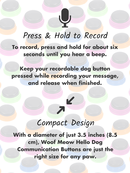 Press and hold to record communication buttons for dogs compact small size