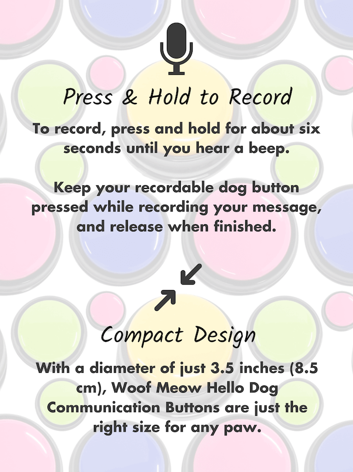 Recordable buttons for dogs instructions: press & hold to record - compact size