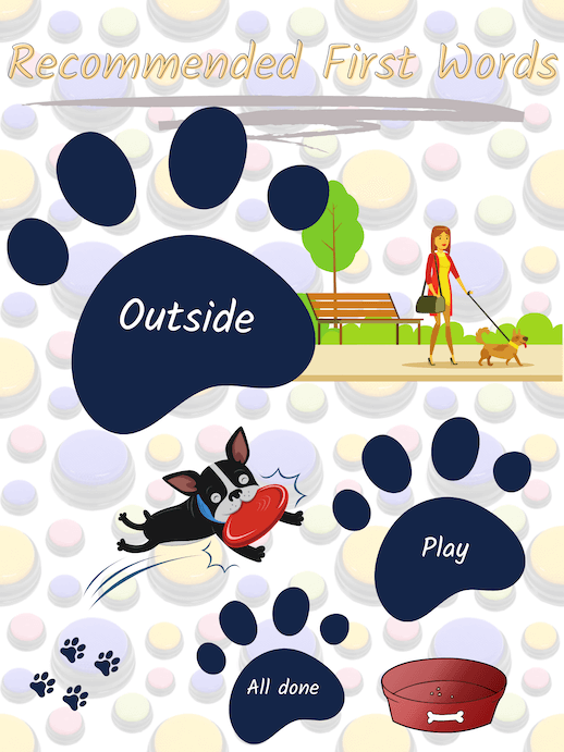 """Recommenced first words for recordable communication buttons. Outside is the best first word when starting with speech buttons for dogs. The next word buttons to add are """"play"""" and """"all done."""""""