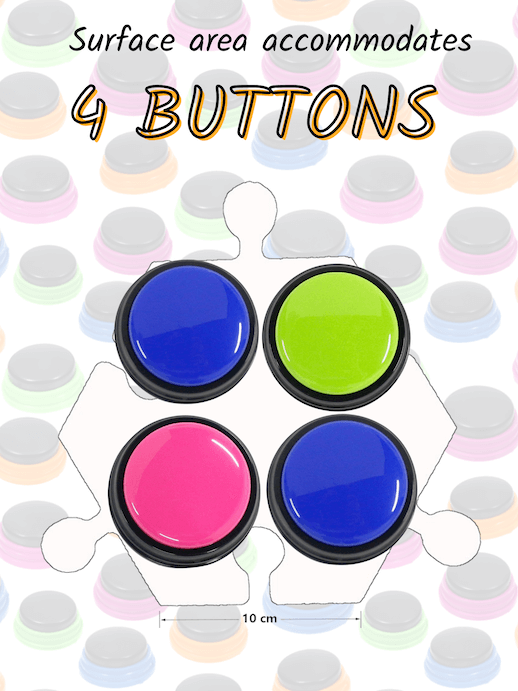 How many buttons fit on a hex tile? Surface area accommodates up to 4 buttons comfortably.