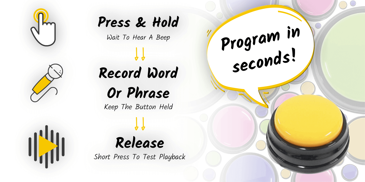 Program dog communication buttons in seconds! Press and hold until you hear a beep, record the word or phrase while keeping the button held, and release. Short press to test sound button playback.
