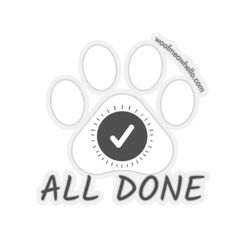 "All Done - 2"" X 2"" Sticker Label For Dog Speech Buttons"