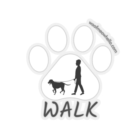Dog Speech Button Sticker Label - Walk